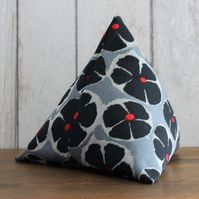 Black and Grey Floral Print Pyramid Doorstop