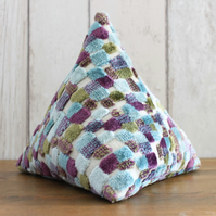 Turquoise, Purple and Green Check Pyramid Doorstop