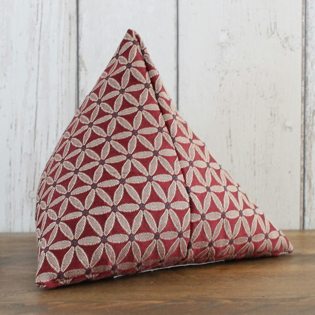 Red and Gold Geometric Floral Pattern Pyramid Doorstop