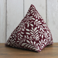 Dark Red and Cream Leaf Pattern Pyramid Doorstop