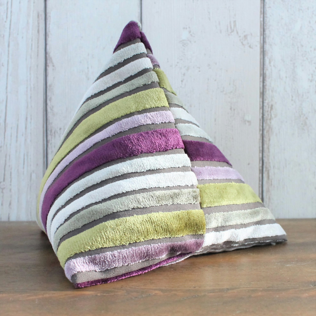 Lime Green, Grey and Purple Striped Velvet Triangular Pyramid Door Stop