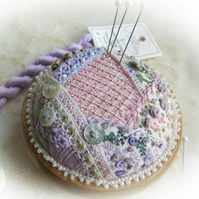 Crazy Patchwork Heirloom Treasure - Lilac and Pink pincushion kit