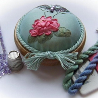 Dragonfly on Waterlily turquoise pincushion kit