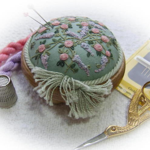 Trellis of Roses and Wisteria pincushion Kit