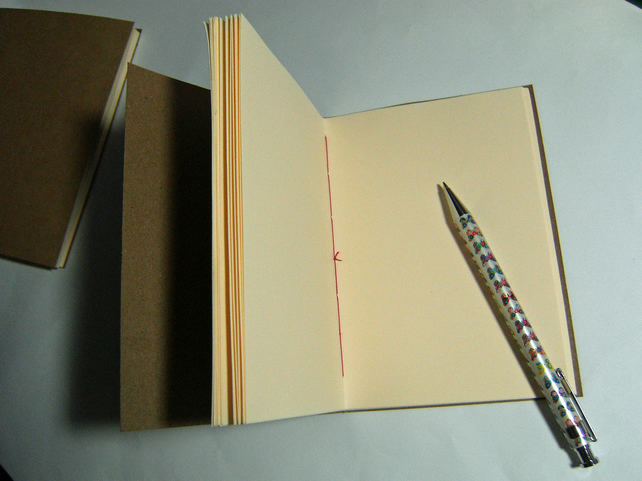 Notebook, Kraft Covers, Cream paper and Red Stitching