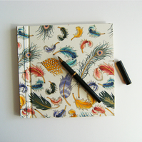Guest Book Floating Feathers  Hand Bound Book