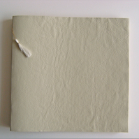 Cream Leather Wedding Guest Book with Gold, Reserved for Elaine
