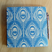 Peacock Feathers Hand Bound Book - Wedding Guest Book, Journal, Sketchbook