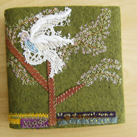 Forest Bird - Wool Felt Embroidered Journal - Artist Book - Hand Embellished