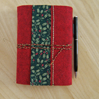 LAST MINUTE Christmas Holly - Wool Felt Embroidered Journal - Hand Bound Book