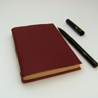 Valentine Red Leather Journal, Longstitch Notebook