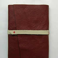 Red and Ivory Leather Journal - Hand bound book