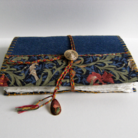 LAST MINUTE Christmas - Blue Iris - Wool Felt Embroidered Journal - Hand Bound