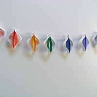 Christmas Decorations - String of Paper Baubles in Rainbow Colours