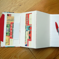Travel Journal - Concertina Folding Pocket Journal Sketchbook with Travel Theme
