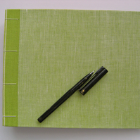 Handmade Green Linen Wedding Guest Book