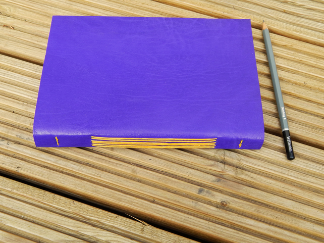 Leather Sketchbook Journal, Purple and Golden Yellow Longstitch Book