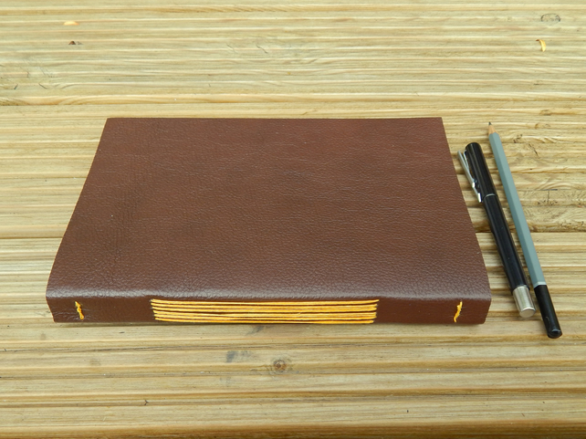 Leather Journal Sketchbook, Chestnut Brown with Golden thread