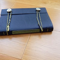 Leather Journal, Navy Blue, Notebook, Sketchbook, Hand Bound in Longstitch
