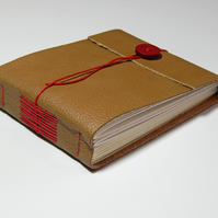 Leather Hand Bound Sketchbook, Golden Brown Leather. Autumn Colours.