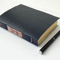Navy Blue Leather Journal Notebook, Hand Made, with Hand Marbled Paper lining