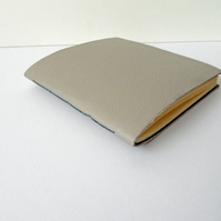 Grey Leather Notebook, lined with deep blue handmade lokta paper