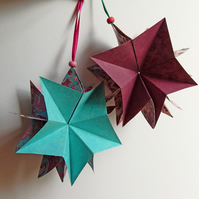 Christmas Stars - Folding Paper Star Ornaments in Aqua and Mulberry