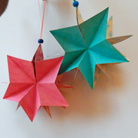 Christmas Stars - Folding Paper Star Ornaments in Turquoise and Pink