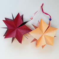 Christmas Stars - Folding Paper Star Ornaments in Mulberry and Pink
