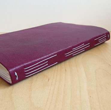 Leather Sketchbook, Artists Book, Travel Journal in Blackcurrant and Deep Pink