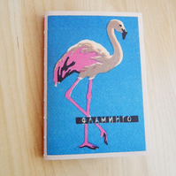Flamingo Notebook Journal, Zoo themed book, hand bound notebook with zoo theme