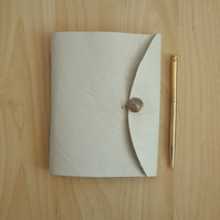 Cream Leather Journal with gold button and dandelions. Gifts for her, for women.