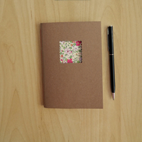 Floral Notebook, hand made notebook with pink and white flowers, 6x4ins