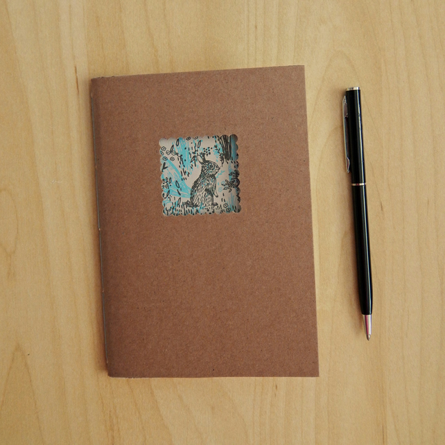 Rabbit Kraft Notebook - 6x4 ins hand bound book, pocket journal - Woodland Bunny