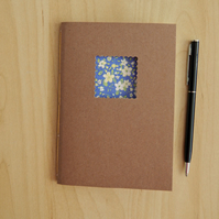 Floral Notebook with yellow flowers on blue, hand made notebook, 6x4ins