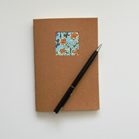 Yellow Floral Moleskine style Notebook with Cream paper, 6x4 ins hand bound book
