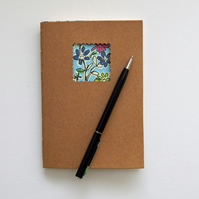 Blue Floral Moleskine style Notebook with Cream paper - 6x4 ins hand bound book