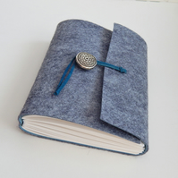Grey Felt & Blue Suede Journal, Handmade Notebook, Sketchbook, Gifts for men