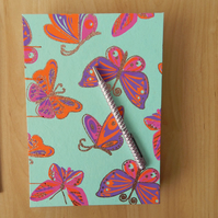Rainbow Butterfly Journal with Handmade paper in Rainbow colours