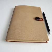 Caramel Leather Journal Notebook with Wooden Button Closure, Gifts for Men