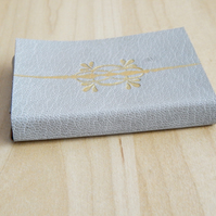 Leather Business Card Holder Card Case, Light Grey with Gold, Gifts for Men