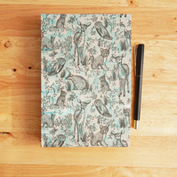 Woodland Journal, hand made notebook with Forest Animals in aqua and grey