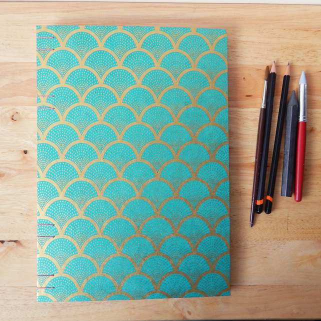 A4 Turquoise and Gold Sketchbook, hand bound artists book, drawing book