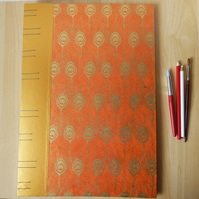 A3 Large Orange Sketchbook, orange and gold feathers, hand bound artists book