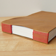 Tan Leather Sketchbook. Red buttonhole binding Gifts for Artists Travel Journal