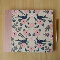 Wedding Guest Book, Photo Album, Birds and Flowers with Blush Pink Silk