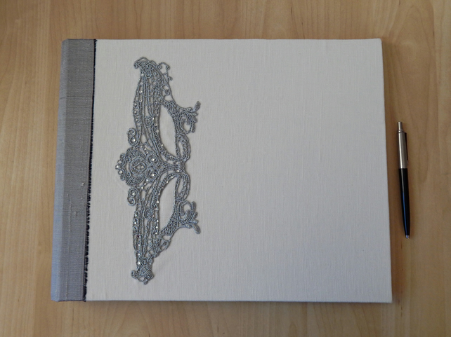 White Linen and Silver Wedding Album, photo book, guest book Extra Large