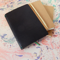 Black Leather Notebook Cover Set, Sketchbook, Leather book cover, Fauxdori