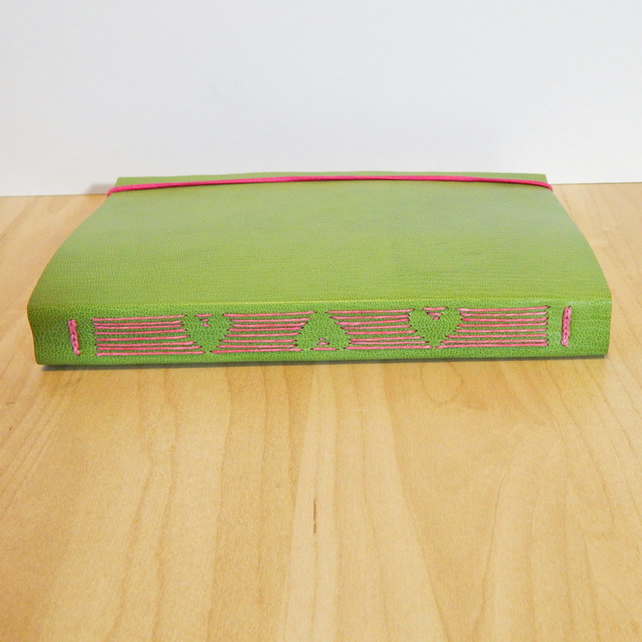 Green leather Journal with heart design stitching. Leather Wedding Guest Book.