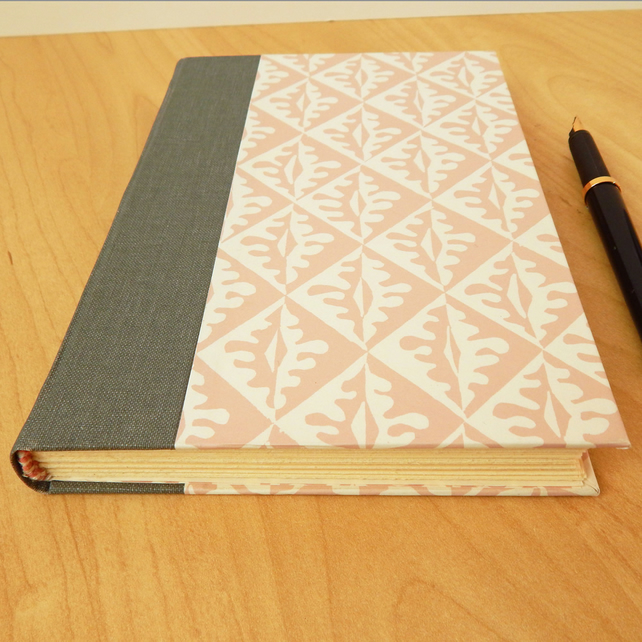 Pink and White Journal or Notebook with grey cloth spine. Regency C18th Style